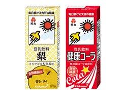 「紀文 豆乳飲料 梨」200ml、「紀文 豆乳飲料 コーラ」200ml