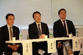 (左から)宮崎宏明氏、兼松徹氏、郷司功氏