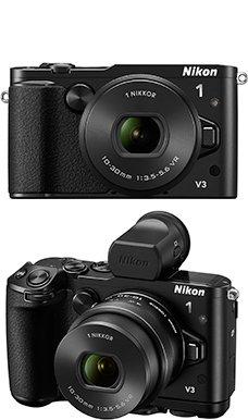 「Nikon 1 V3」(上)標準パワーズームレンズキット、(下)プレミアムキット