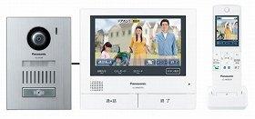 手持ちのスマホで来訪者を動画で確認!(写真は、「VL‐SWD701KS」。左から「カメラ玄関子機」「モニター親機」「ワイヤレスモニター子機」)