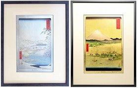左:プラチナ箔額「東都数奇屋河岸」、右:金箔額「駿河三保之松原」