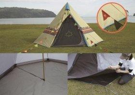 Tepee型テントをマットやシートとスタートパックで