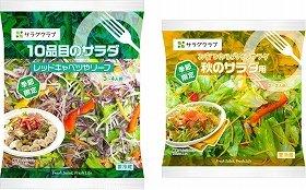 右:「秋のサラダ」、左:「レッドキャベツやリーフ」