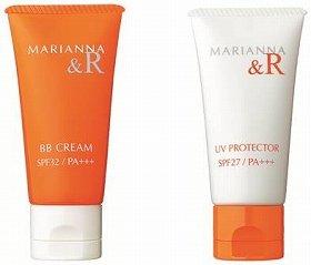 「マリアンナ&R BBクリーム」(左)、「マリアンナ&R UVプロテクター」