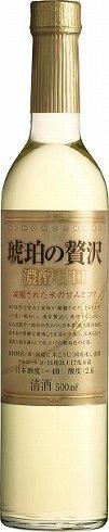白ワインのような見た目の「日本盛 琥珀の贅沢濃醇甘口500ml瓶」
