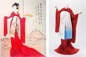 画像は、竹久夢二「立田姫」とそれをもとに制作された着物と帯