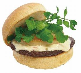 写真は「黒毛和牛バーガー ホースラディッシュソース」