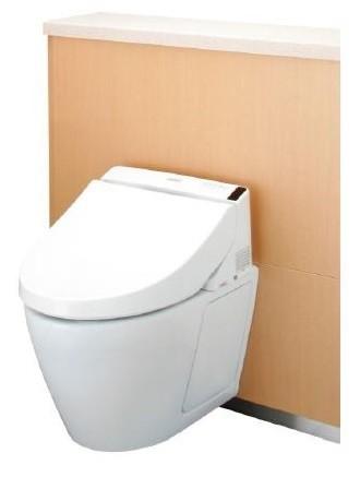 省資源・省施工のフラッシュタンク式、壁掛タイプのTOTOトイレシステム