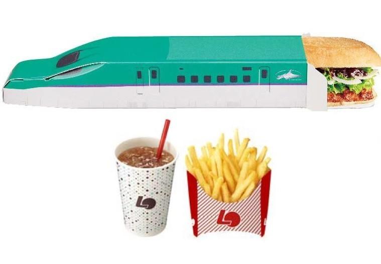 ロッテリア北海道新幹線の開業記念セット H5系モチーフのBOX入り