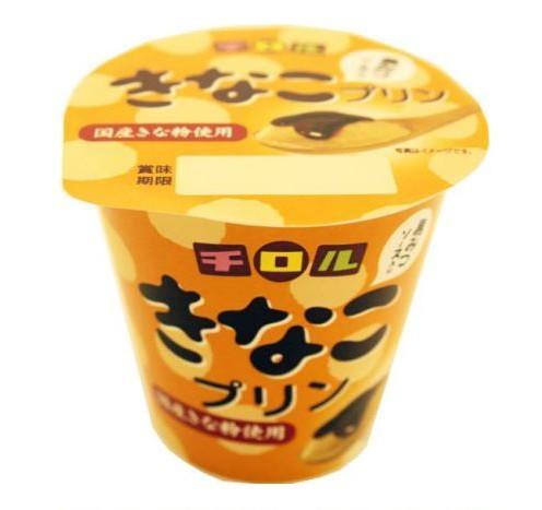北海道乳業、チロルチョコとコラボ「チロル きなこプリン 黒みつソース入り」発売