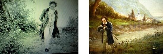 散歩するベートーヴェンはさまざまな絵画のモチーフになっている