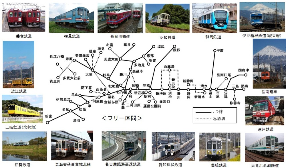 「JR東海&16 私鉄 乗り鉄☆たび きっぷ」のフリー区間