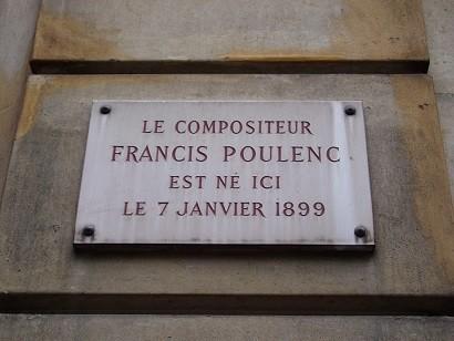 パリ中心部、プーランクの生家跡に掲げられたプレート