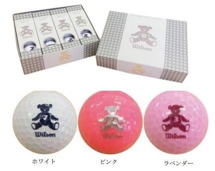 ゴルフボール「ウイルソン ベア3」。色も白、ピンク、ラベンダーとそろっている