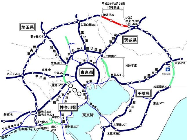 赤線が2月26日に開通する区間(国交省資料より)
