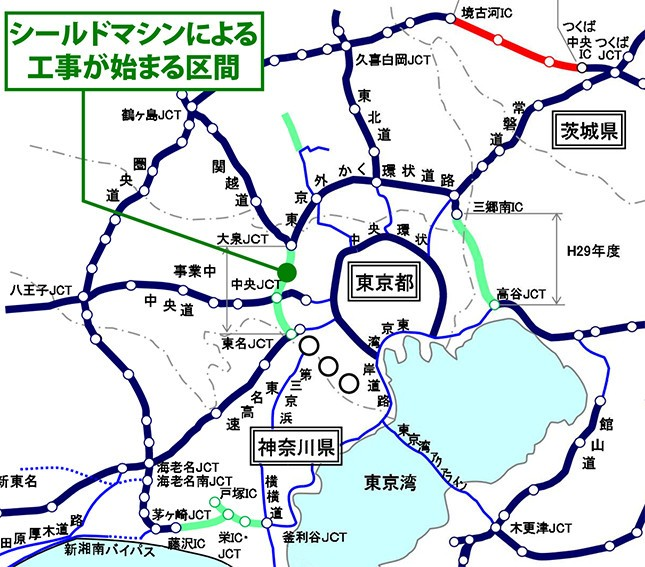 外環道の関越道~東名高速間もいよいよ整備が本格化(国交省資料を編集部が一部加工)