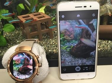「ZenFone 3」のカメラを「ZenWatch 3」でライブビュー。タップでシャッター