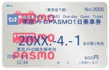「東京メトロPASMO1日乗車券」のイメージ