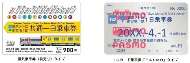 「東京メトロ・都営地下鉄共通一日乗車券」。写真左の磁気乗車券はデザインを一新