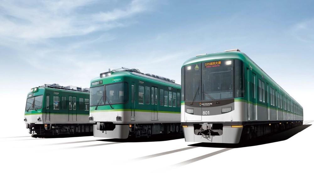 カラーデザイン変更後の大津線車両イメージ。写真左から600形、700形、800系