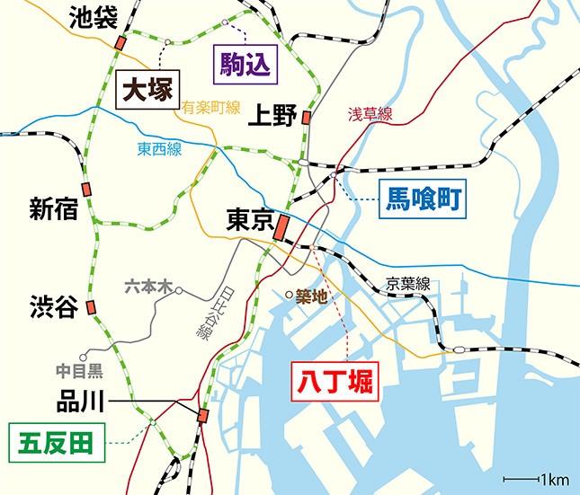 「駅近マンション」の数が多い駅ベスト5の位置(編集部作成)