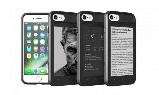 背面に4.3型「E Ink」ディスプレイ 立ち上げなくても予定の確認や読書ができるiPhone 7ケース
