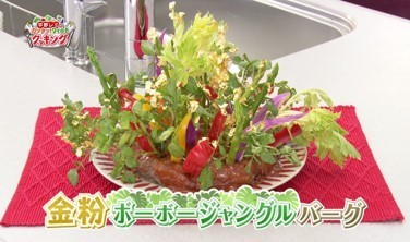 平野レミ新伝説「ハンバーグ生け花」 生野菜を次々ぶっ刺す
