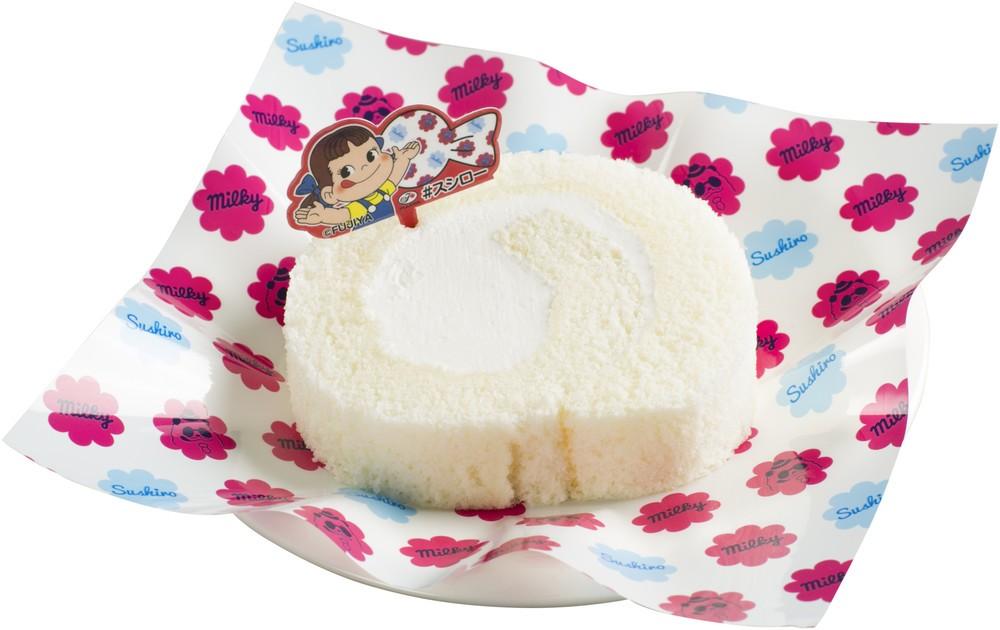 スシローと不二家が初コラボ! ミルキーのやさしい味のロールケーキをすし屋で