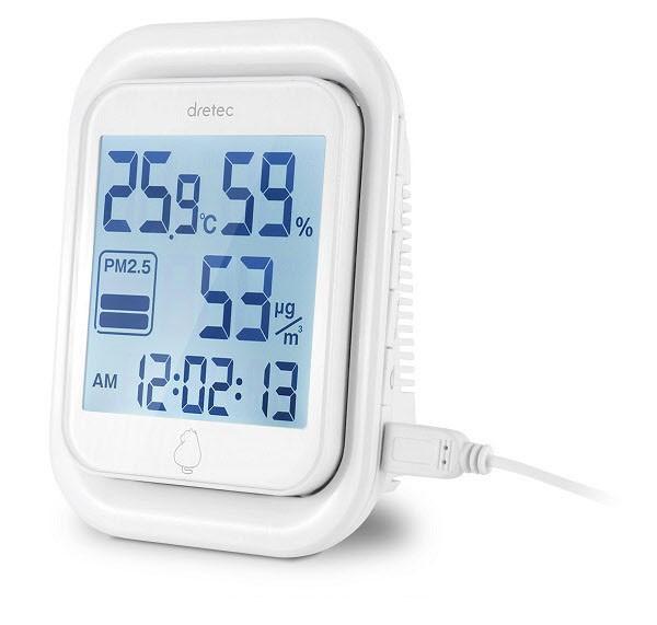 タバコの煙、黄砂など「PM2.5」を測定 3段階レベル表示もできる温湿度計