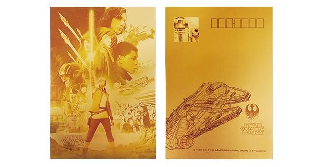 88個限定の純金製年賀カード 「スター・ウォーズ/最後のジェダイ」公開記念、郵便局で発売