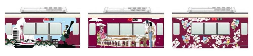 阪急電鉄、神戸・宝塚・京都線でラッピング列車 観光スポットをデザイン
