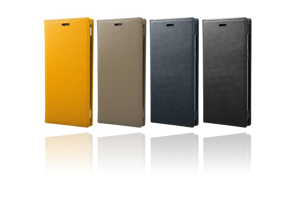 表・裏地からフレームパーツまで本革 新型「Galaxy」向け手帳型ケース