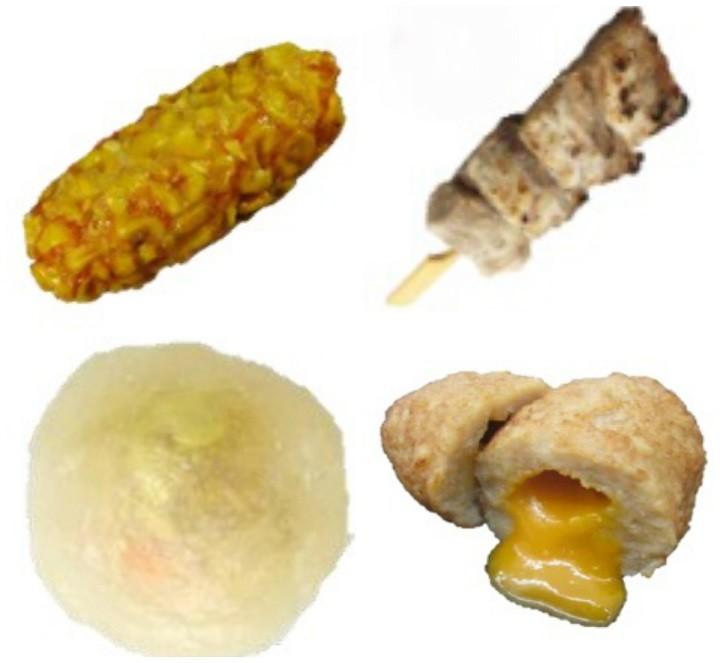 (右上から時計回りに)「豚トロ串」「つくね団子(卵黄風ソース入り)」「カニカマと枝豆のこんにゃく包み」「とうもろこし天」(ローソンのリリースより)