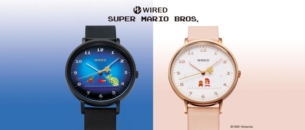 「スーパーマリオブラザーズ」コラボ腕時計 ブラックとピンクゴールドで