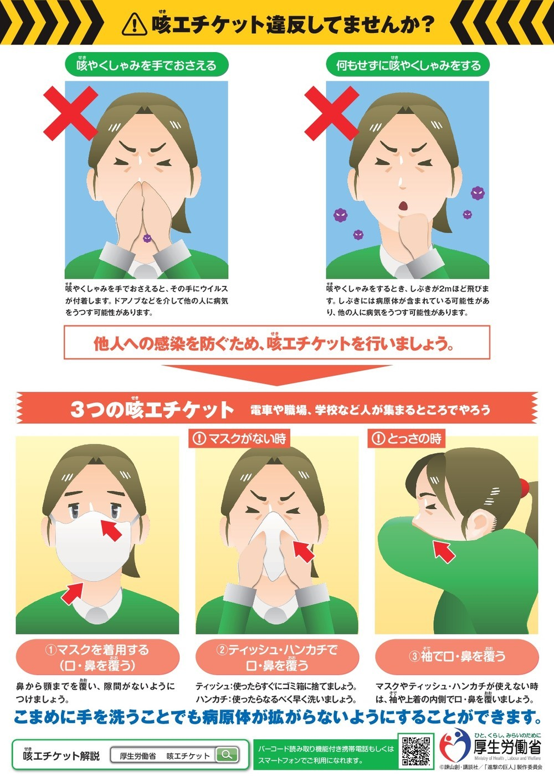 キャプション:厚生労働省「咳エチケット」啓発ポスター(2)