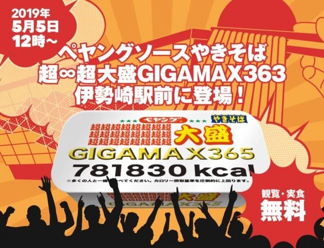 「ペヤングソースやきそば超∞超大盛GIGAMAX365」のお披露目会