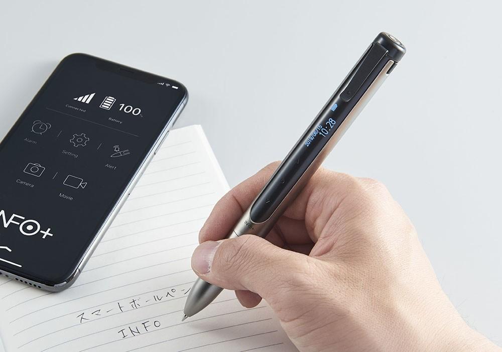 スマホと連携、電話やメールのプッシュ通知を表示 「スマートボールペン」