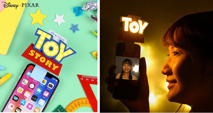 「トイ・ストーリー」ロゴが光る スマホに挟んで使える自撮りライト