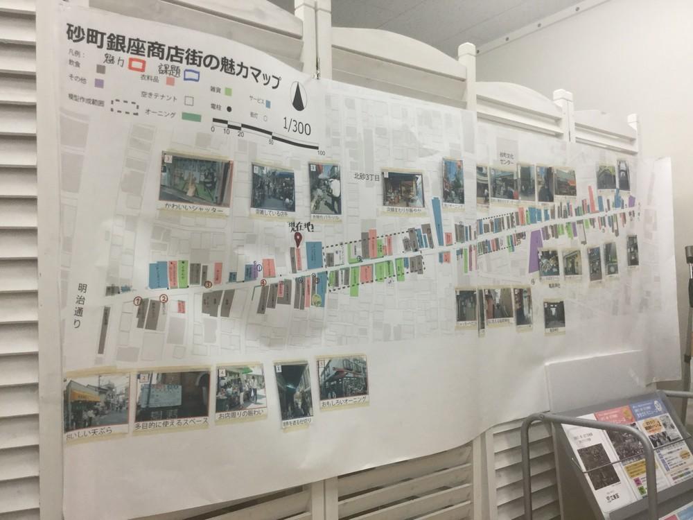 商店街の魅力と課題を記したマップ