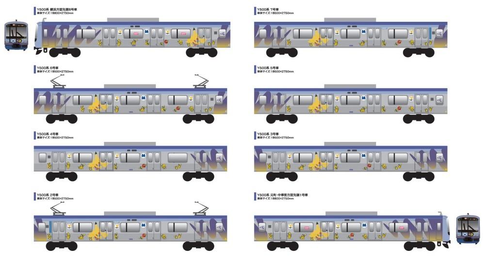 横浜・みなとみらい線にピカチュウ襲来 「大量発生」に合わせラッピング電車