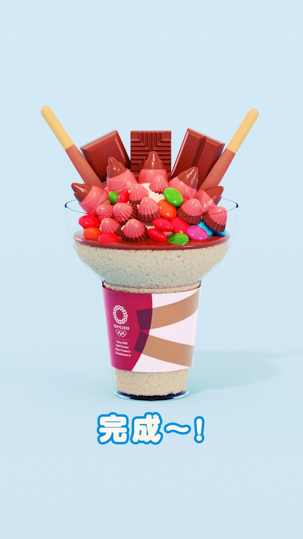 人気のお菓子どっさり「盛りすぎアイス」 東京五輪の「オアシス」コンセプト店で