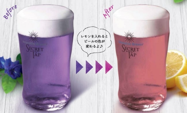 「バタフライピー」使用の「紫」クラフトビール レモンを入れると色が変わっちゃう!