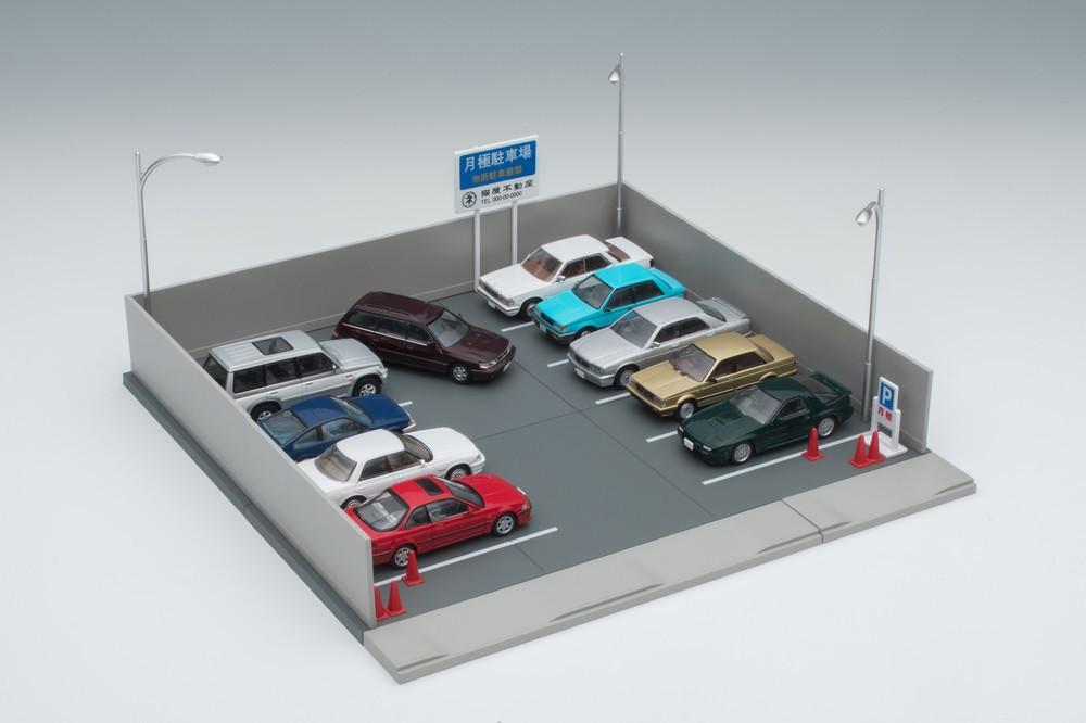 看板や街灯をリアルに再現 64分の1ミニカー向け「月極駐車場」