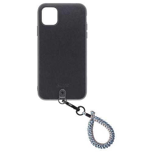 本革製iPhoneケースとカラフルなフィンガーストラップのセット