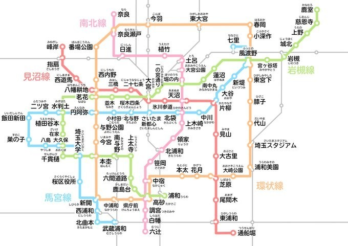 まるで本物「さいたま市営地下鉄」路線図 網の目のように広がる5路線に「開通して!」