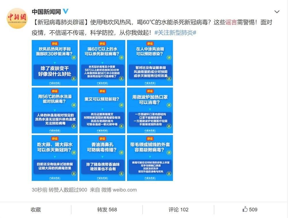 政府機関や中国メディアは、新型肺炎に関するさまざまな言説の真偽を発信している(出典:Weibo)