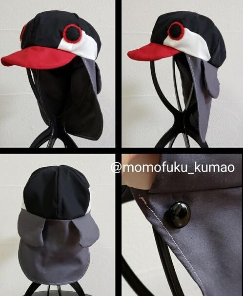 京都市のショップ「もも福」が制作した「お口ガード☆インコ帽子」