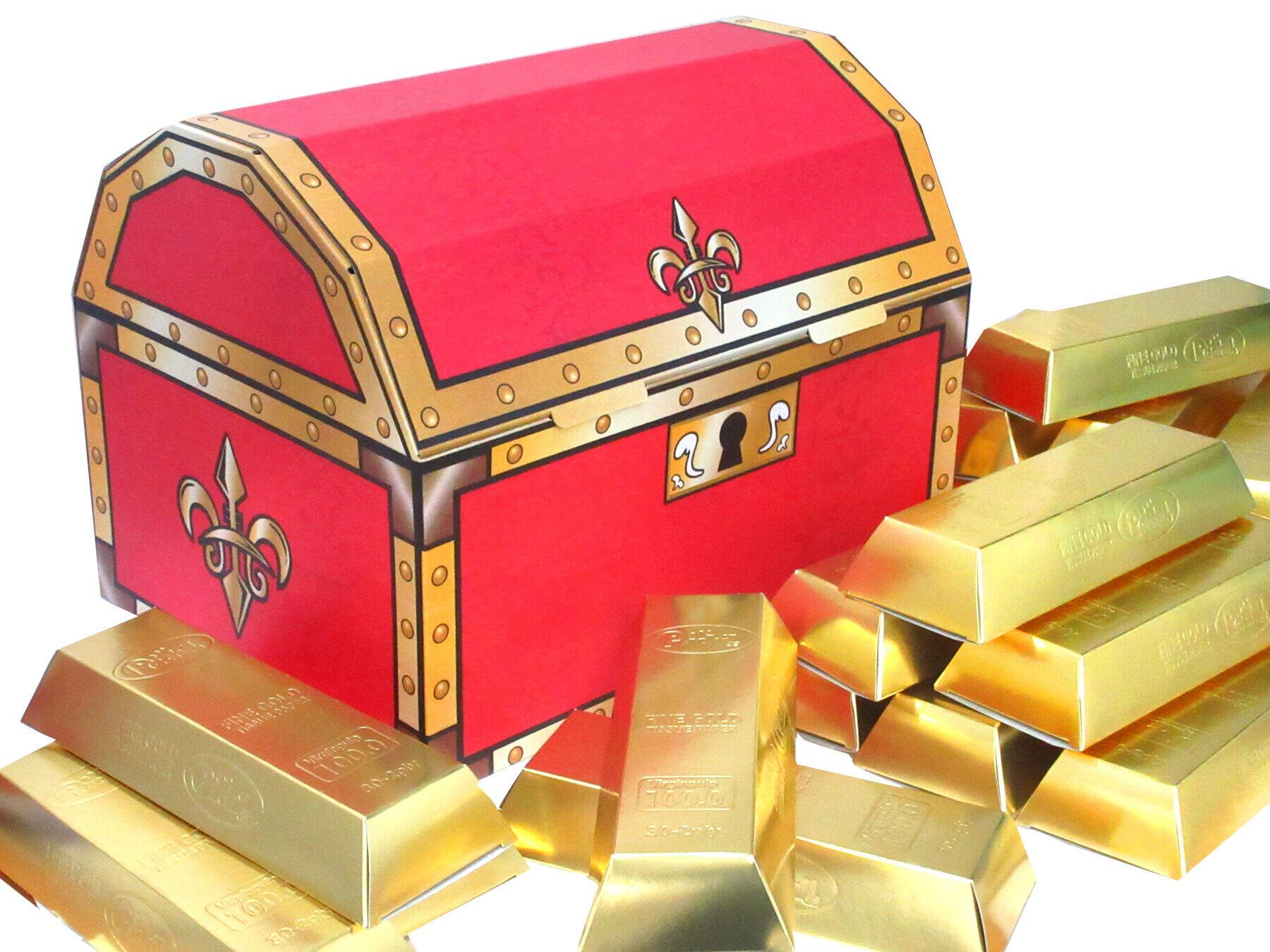 金インゴット形のティッシュペーパーを入れた「王様の宝箱」