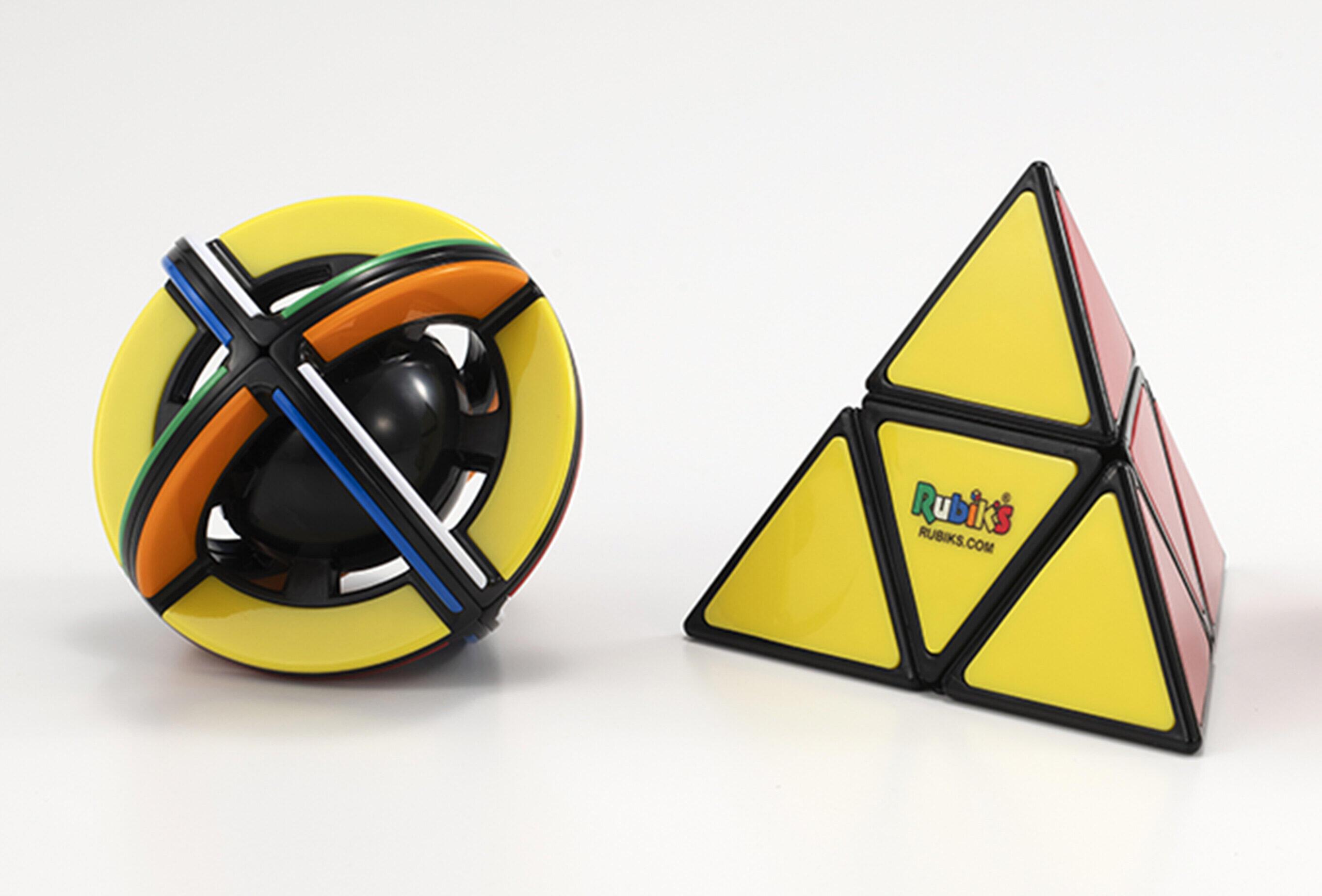 立体パズル「ルービックキューブ」に球体型とピラミッド型