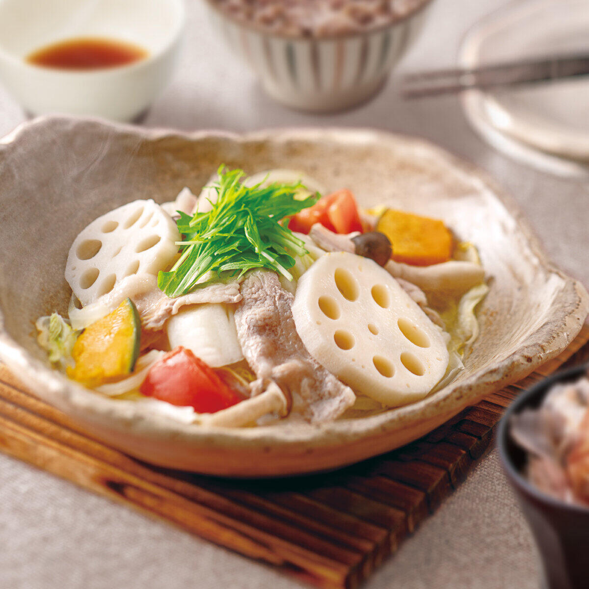 野菜と豚の蒸し鍋定食